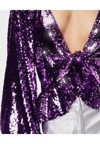 For Love & Lemons - FOR LOVE & LEMONS - Fioletowa cekinowa bluzka Madeleine. Okazja: na imprezę. Kolor: wielokolorowy, różowy, fioletowy. Materiał: jeans