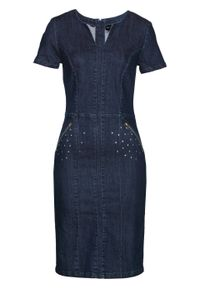"""Sukienka dżinsowa bonprix ciemnoniebieski """"stone"""". Kolor: niebieski. Wzór: aplikacja. Typ sukienki: ołówkowe"""