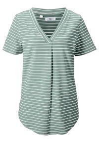 T-shirt z dekoltem w serek, bawełna organiczna bonprix dymny zielony - biały w paski. Typ kołnierza: dekolt w serek. Kolor: zielony. Materiał: bawełna. Wzór: paski