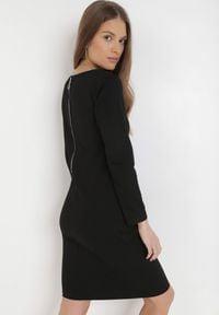 Born2be - Czarna Sukienka Sanya. Okazja: na co dzień. Kolor: czarny. Materiał: bawełna, dzianina, jeans. Długość rękawa: długi rękaw. Typ sukienki: proste, oversize. Styl: casual. Długość: mini