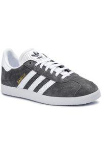 Szare półbuty Adidas w paski, z cholewką, z paskami