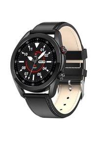 Wotchi Smartwatch W21B - Black Leather. Rodzaj zegarka: smartwatch. Styl: casual