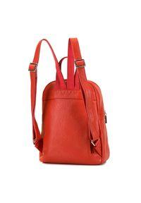 Wittchen - Damski plecak skórzany z suwakami. Kolor: pomarańczowy. Materiał: skóra. Wzór: haft, paski. Styl: sportowy, elegancki, casual