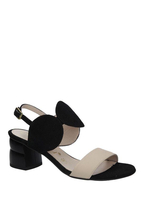 Czarne sandały Oleksy na lato, w kolorowe wzory