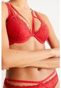 Czerwony biustonosz Undiz z fiszbinami, w koronkowe wzory