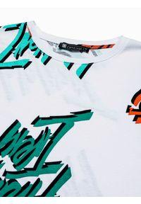 Ombre Clothing - T-shirt męski z nadrukiem S1413 - biały - XXL. Okazja: na co dzień. Kolor: biały. Materiał: bawełna, jeans, poliester. Długość: krótkie. Wzór: nadruk. Styl: casual