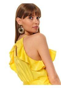 TOP SECRET - żakardowa sukienka z falbaną. Okazja: na imprezę. Kolor: żółty. Materiał: żakard. Długość rękawa: na ramiączkach. Sezon: lato. Styl: wizytowy, elegancki