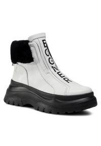 Białe buty trekkingowe Bogner z cholewką