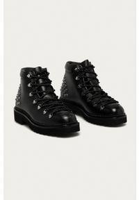 Karl Lagerfeld - Buty skórzane. Nosek buta: okrągły. Zapięcie: sznurówki. Kolor: czarny. Materiał: skóra