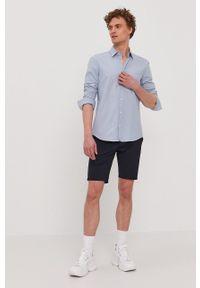 Hugo - Koszula bawełniana. Typ kołnierza: kołnierzyk włoski. Kolor: niebieski. Materiał: bawełna. Długość rękawa: długi rękaw. Długość: długie
