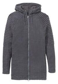 Szary sweter bonprix długi, z kapturem