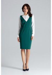 Sukienka na spotkanie biznesowe, bez rękawów, elegancka