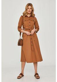 Liviana Conti - Sukienka. Kolor: brązowy. Typ sukienki: rozkloszowane