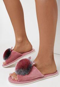 Born2be - Różowe Kapcie Lypho. Nosek buta: otwarty. Zapięcie: bez zapięcia. Kolor: różowy. Materiał: dresówka, dzianina, guma. Wzór: aplikacja