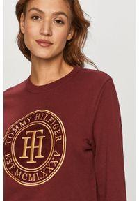 Brązowa bluza TOMMY HILFIGER z długim rękawem, długa, z aplikacjami