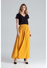 Figl - Musztardowa Długa Marszczona Spódnica w Liście. Kolor: żółty. Materiał: poliester, elastan. Długość: długie