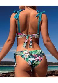DEL MAAR - Top od bikini w kwiaty. Kolor: niebieski. Materiał: materiał. Wzór: kwiaty