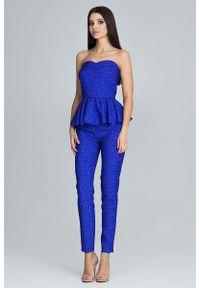 Niebieska bluzka Figl z gorsetem, długa, elegancka
