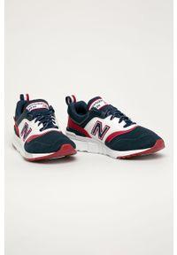 Niebieskie sneakersy New Balance z okrągłym noskiem, z cholewką, na sznurówki