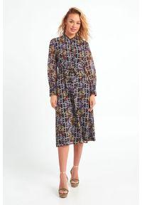 Sukienka Marella w kolorowe wzory, ze stójką