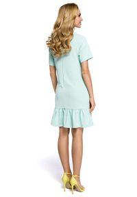 Sukienka koktajlowa MOE z krótkim rękawem, trapezowa, z kwadratowym dekoltem