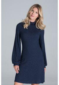Figl - Dzianinowa Sukienka z Golfem - Granatowa. Typ kołnierza: golf. Kolor: niebieski. Materiał: dzianina