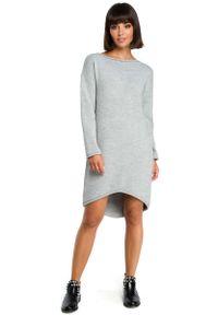 Szara sukienka dzianinowa MOE z asymetrycznym kołnierzem, asymetryczna