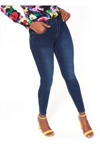 Niebieskie spodnie TOP SECRET długie, w kolorowe wzory, eleganckie
