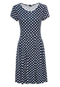 Sukienka z dżerseju bonprix ciemnoniebiesko-biel wełny w kropki. Kolor: niebieski. Materiał: jersey, wełna. Wzór: kropki. Sezon: lato