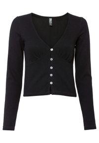 Krótki sweter rozpinany bonprix czarny. Kolor: czarny. Długość: krótkie