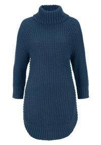 Miękki sweter dzianinowy, rękawy do łokcia bonprix ciemnoniebieski. Typ kołnierza: golf. Kolor: niebieski. Materiał: dzianina. Długość rękawa: raglanowy rękaw