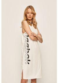 Biała sukienka Reebok casualowa, z okrągłym kołnierzem, bez rękawów
