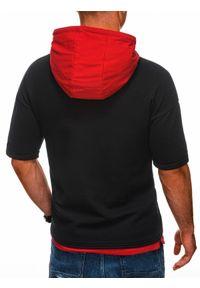 Ombre Clothing - Bluza męska z krótkim rękawem B1221 - czarna/czerwona - XXL. Okazja: na co dzień. Kolor: czerwony. Materiał: bawełna, elastan. Długość rękawa: krótki rękaw. Długość: krótkie. Wzór: aplikacja, melanż. Styl: casual, klasyczny, sportowy #2