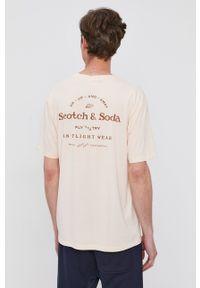 Scotch & Soda - T-shirt bawełniany. Kolor: różowy. Materiał: bawełna. Wzór: nadruk
