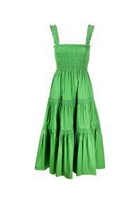 Zielona sukienka Tory Burch midi, z kwadratowym dekoltem