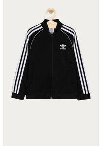 Czarna bluza rozpinana adidas Originals na co dzień, casualowa, z nadrukiem