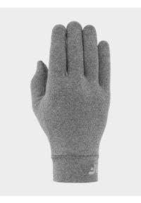 4f - Rękawiczki Touch Screen uniseks. Kolor: szary. Materiał: dzianina, materiał