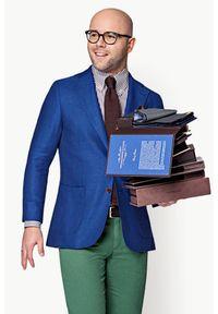 Lancerto - Marynarka MR. SMART. Kolor: niebieski. Materiał: tkanina, wiskoza, len, wełna. Wzór: kratka, ze splotem, prążki. Sezon: lato. Styl: klasyczny, elegancki, vintage