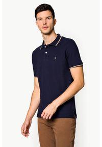 Niebieska koszulka polo Lancerto polo, klasyczna, w kolorowe wzory, z krótkim rękawem