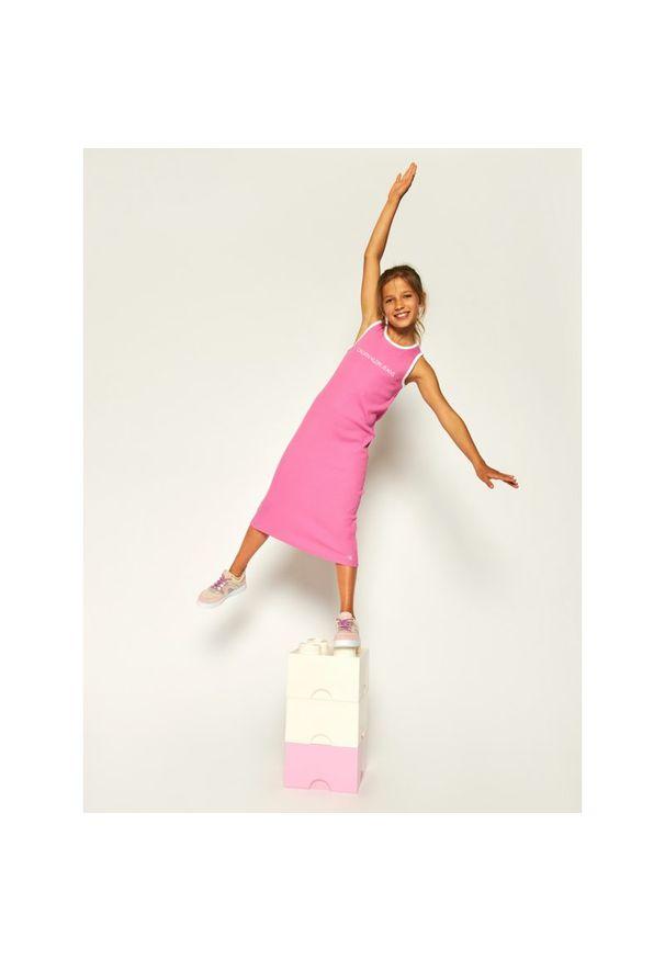 Różowa sukienka Calvin Klein Jeans casualowa, na co dzień
