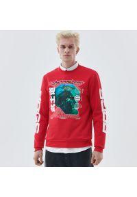 Cropp - Bluza z nadrukiem - Czerwony. Kolor: czerwony. Wzór: nadruk