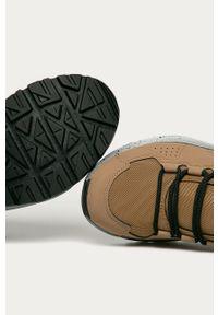 Beżowe buty trekkingowe The North Face na sznurówki, z cholewką