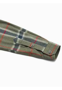 Ombre Clothing - Koszula męska w kratę z długim rękawem K564 - khaki - XXL. Kolor: brązowy. Materiał: bawełna, poliester. Długość rękawa: długi rękaw. Długość: długie