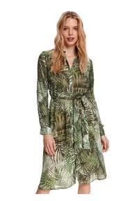 TOP SECRET - Koszulowa sukienka z podwijanym rękawem. Okazja: do pracy, na co dzień. Kolor: zielony. Materiał: tkanina. Długość rękawa: długi rękaw. Sezon: lato. Typ sukienki: koszulowe. Styl: casual