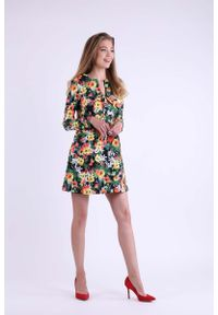 Sukienka wizytowa Nommo mini, trapezowa, w kwiaty