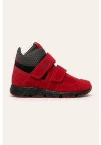 Czerwone buty sportowe Bartek z okrągłym noskiem, na rzepy, z cholewką