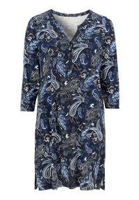 Niebieska tunika Cellbes z okrągłym kołnierzem, paisley, elegancka