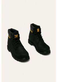 Czarne buty trekkingowe CATerpillar z cholewką, na sznurówki, z okrągłym noskiem