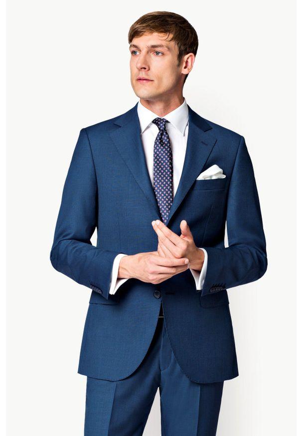 Lancerto - Marynarka Business Mix Szafir. Okazja: na spotkanie biznesowe. Materiał: poliester, wiskoza, tkanina, wełna. Styl: biznesowy