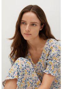 mango - Mango - Sukienka GRAPE. Kolor: biały. Materiał: tkanina. Długość rękawa: krótki rękaw. Typ sukienki: rozkloszowane